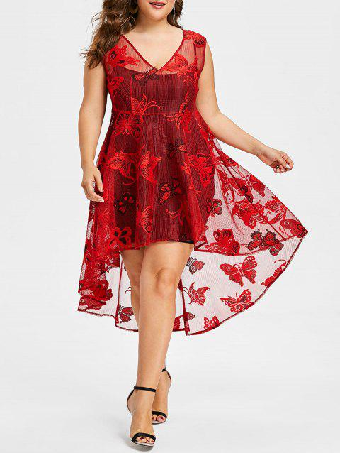 Plus Size High Low Lace Dress with Cami Tank Dress - RED L