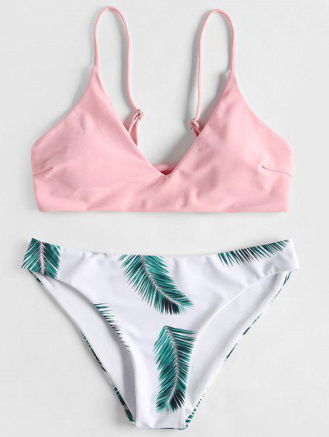 Padded Bra and Leaf Print Bottoms - LIGHT PINK M