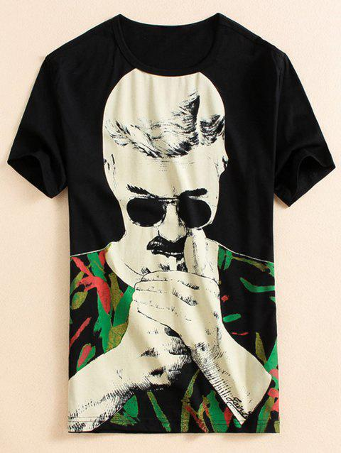 Character Print T-shirt - BLACK XL