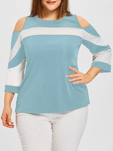 Plus Size Cold Shoulder Color Block Tee - CORAL BLUE 4XL