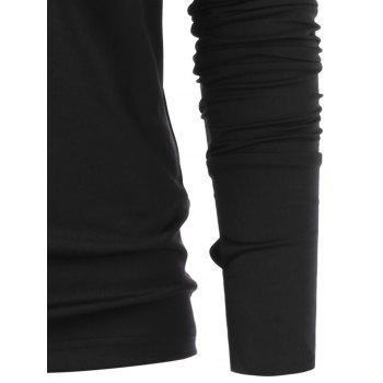 Lace Up Full Sleeve with Finger Hole T-shirt - BLACK L