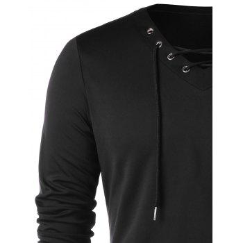 Lace Up Full Sleeve with Finger Hole T-shirt - BLACK XL