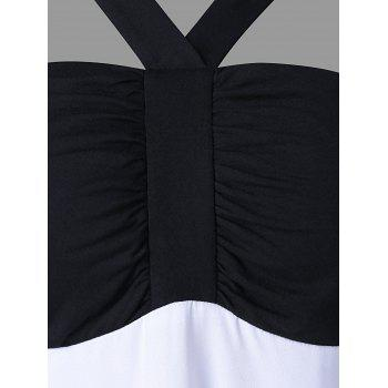 Two Tones Backless Beach Dress - BLACK L