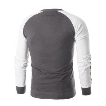 Raglan Sleeve Panel Sweatshirt - BATTLESHIP GRAY XL