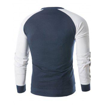 Raglan Sleeve Panel Sweatshirt - MIST BLUE M