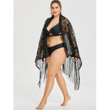 Plus Size Multiway Lace Cover Up - BLACK ONE SIZE