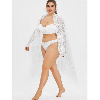 Plus Size Multiway Lace Cover Up - WHITE ONE SIZE