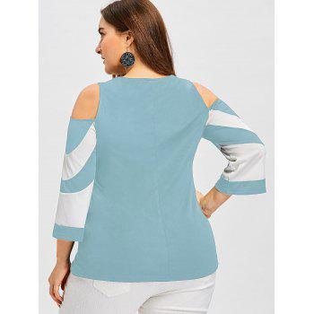 Plus Size Cold Shoulder Color Block Tee - CORAL BLUE 5XL