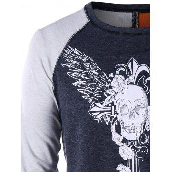 Long Sleeve Skull Wings T-shirt - DARK GRAY L