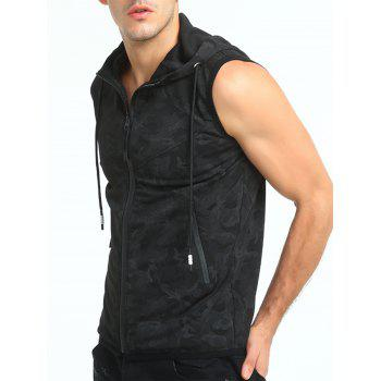 Camouflage Print Hooded Zip Up Tank Top - BLACK XL