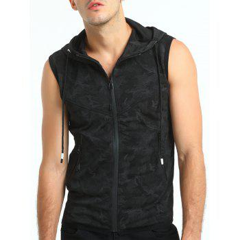 Camouflage Print Hooded Zip Up Tank Top - BLACK 2XL