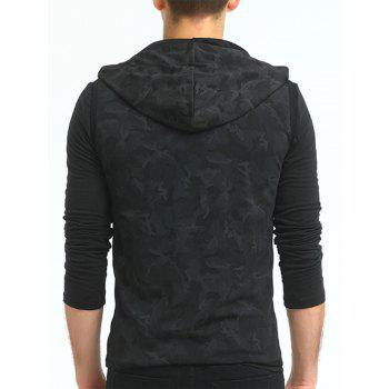 Camouflage Print Hooded Zip Up Tank Top - BLACK 3XL