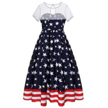 Sheer Dot Yoke American Flag Dress - DEEP BLUE L
