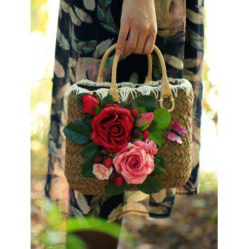 Casual Flowers Beach Straw Handbag - DEEP BROWN