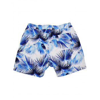 Coconut Palm Print Pockets Hawaiian Shorts - multicolor L