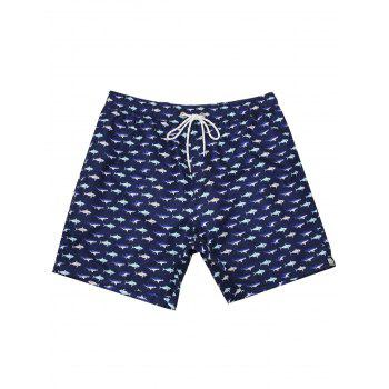 Allover Whale Print Drawstring Beach Shorts - multicolor L