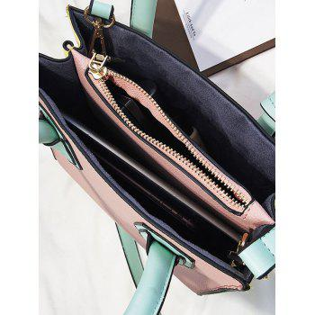 Color Blocking PU Leather Handbag for Shopping - PINK