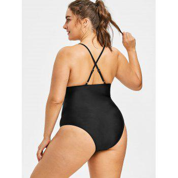 Plus Size Criss Cross One Piece Swimsuit - BLACK 2X