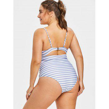 Plus Size Backless Striped Swimsuit - GRAY 1X
