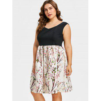 Plus Size Flower Sleeveless Dress - multicolor 4X