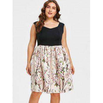 Plus Size Flower Sleeveless Dress - multicolor 5X