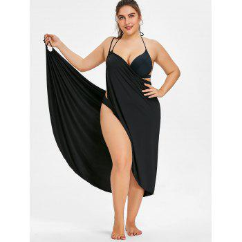 Semi-sheer Plus Size Wrap Cover Up Dress - BLACK 3XL
