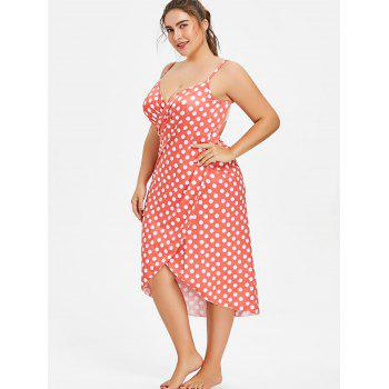 Plus Size Polka Dot Convertible Cover Up Dress - FIRE ENGINE RED XL