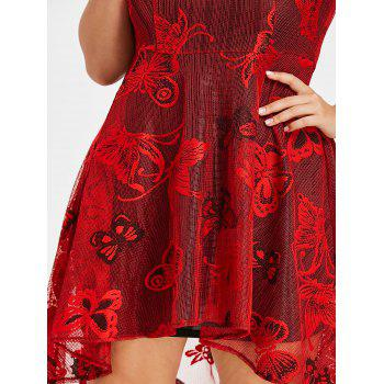 Plus Size High Low Lace Dress with Cami Tank Dress - RED 4X
