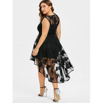 Plus Size High Low Lace Dress with Cami Tank Dress - BLACK 1X