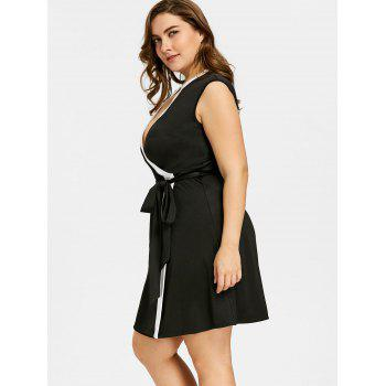 Plus Size Keyhole Neck Sleeveless Contrast Trim Dress - BLACK 3XL