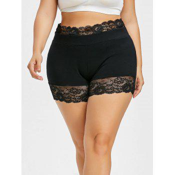 Plus Size Scalloped Lace Edge Short Leggings - BLACK 3X