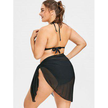 Plus Size Sheer Multiway Cover Up - BLACK ONE SIZE