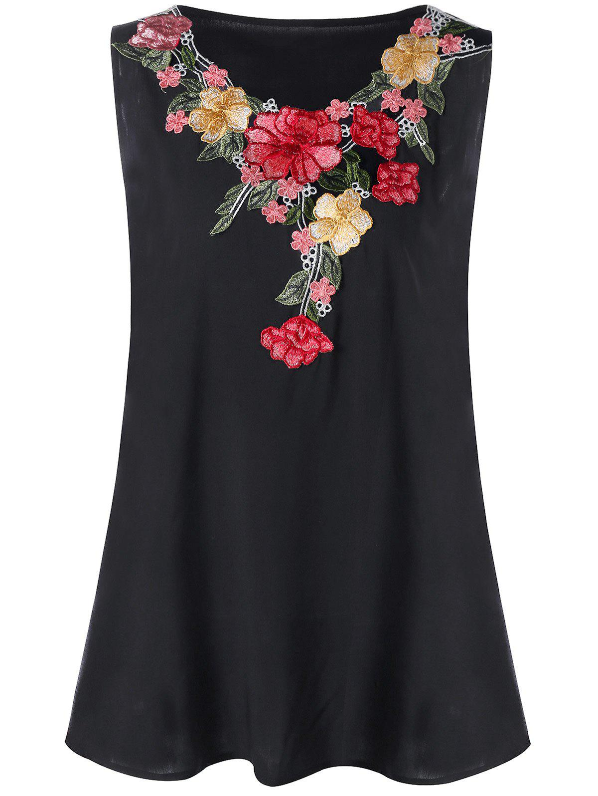 Plus Size Floral Embroidery Tank Top - BLACK 5XL