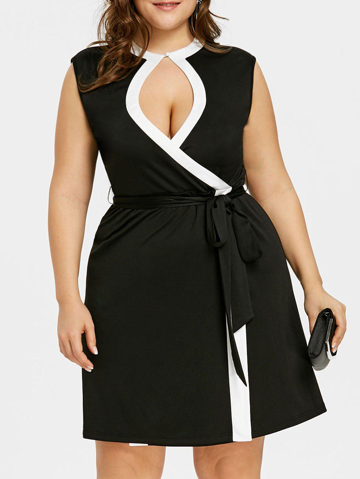 Plus Size Keyhole Neck Sleeveless Contrast Trim Dress girls contrast panel sleeveless dress