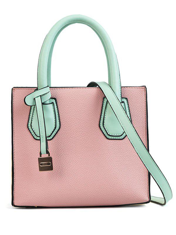 Color Blocking PU Leather Handbag for Shopping bask simple v2