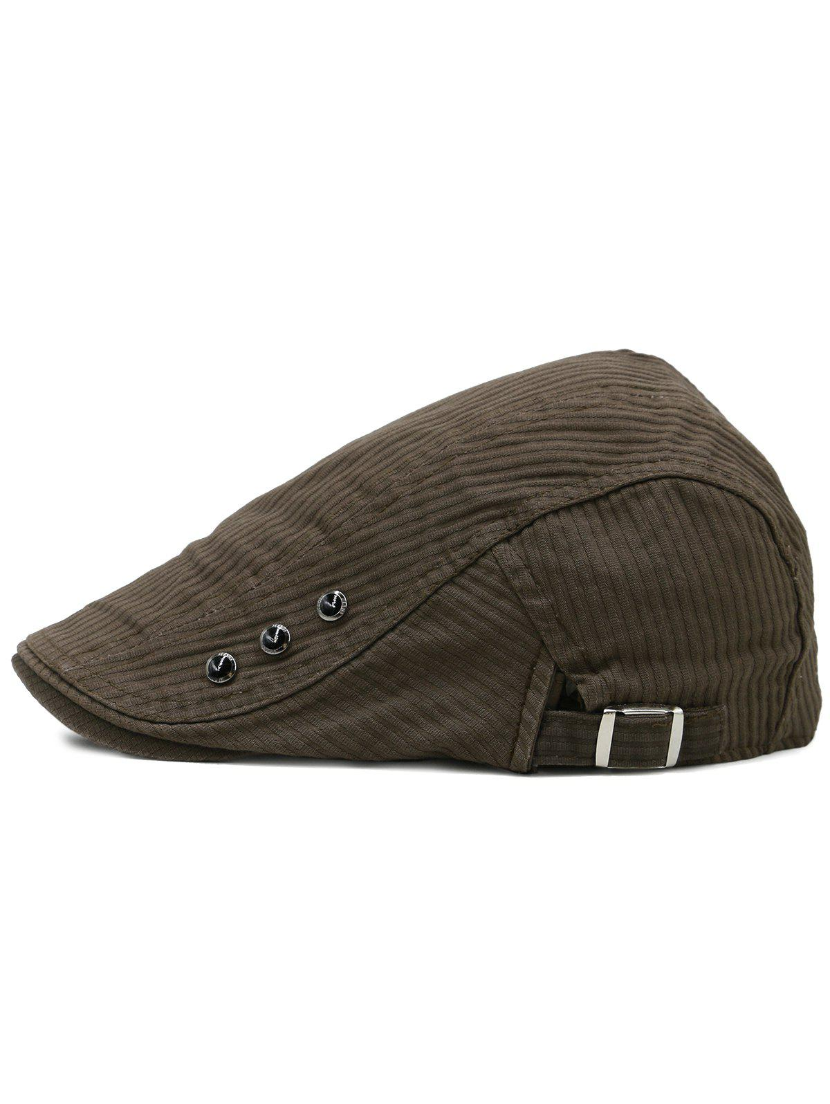 Striped Pattern Rivets Adjustable Cabbie Hat - COFFEE