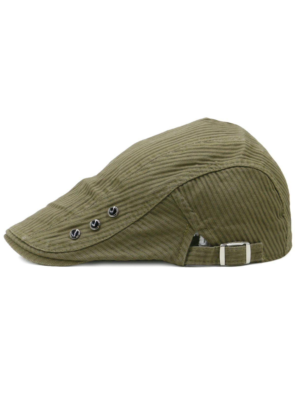 Striped Pattern Rivets Adjustable Cabbie Hat - CAMOUFLAGE GREEN