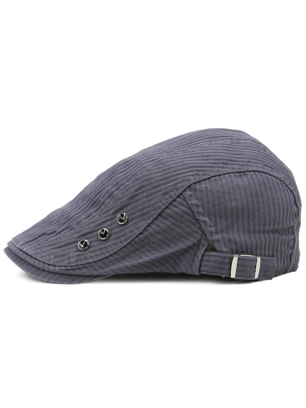 Striped Pattern Rivets Adjustable Cabbie Hat - ASH GRAY
