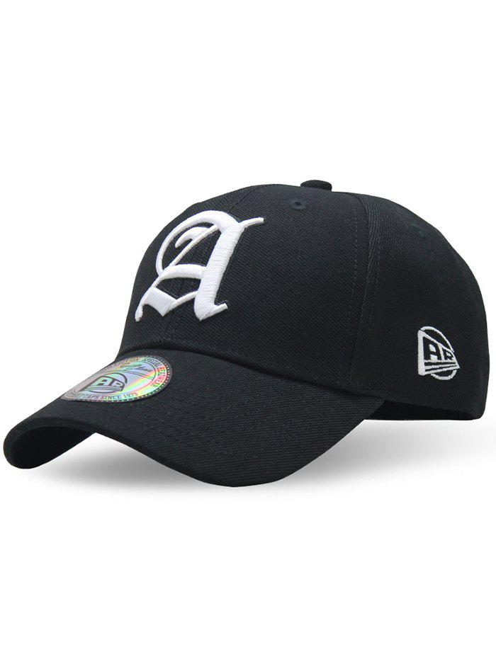 Simple Letter Embroidery Adjustable Graphic Hat - BLACK