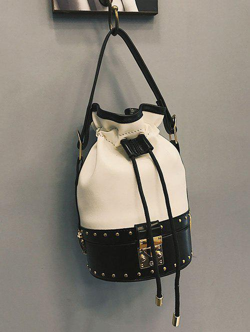 Studded Rivet Strawstring Crossbody Bucket Bag - WHITE