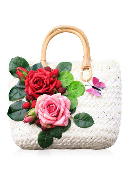 Casual Flowers Beach Straw Handbag - WHITE