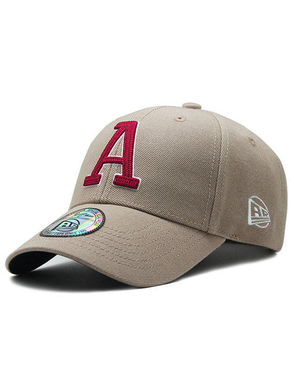Letter A Embroidery Adjustable Graphic Hat - DARK KHAKI
