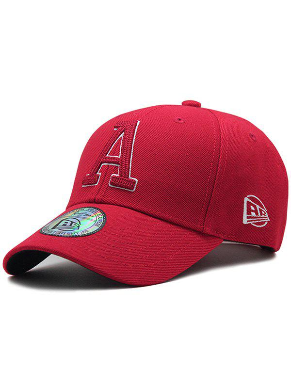 Letter A Embroidery Adjustable Graphic Hat - RED WINE