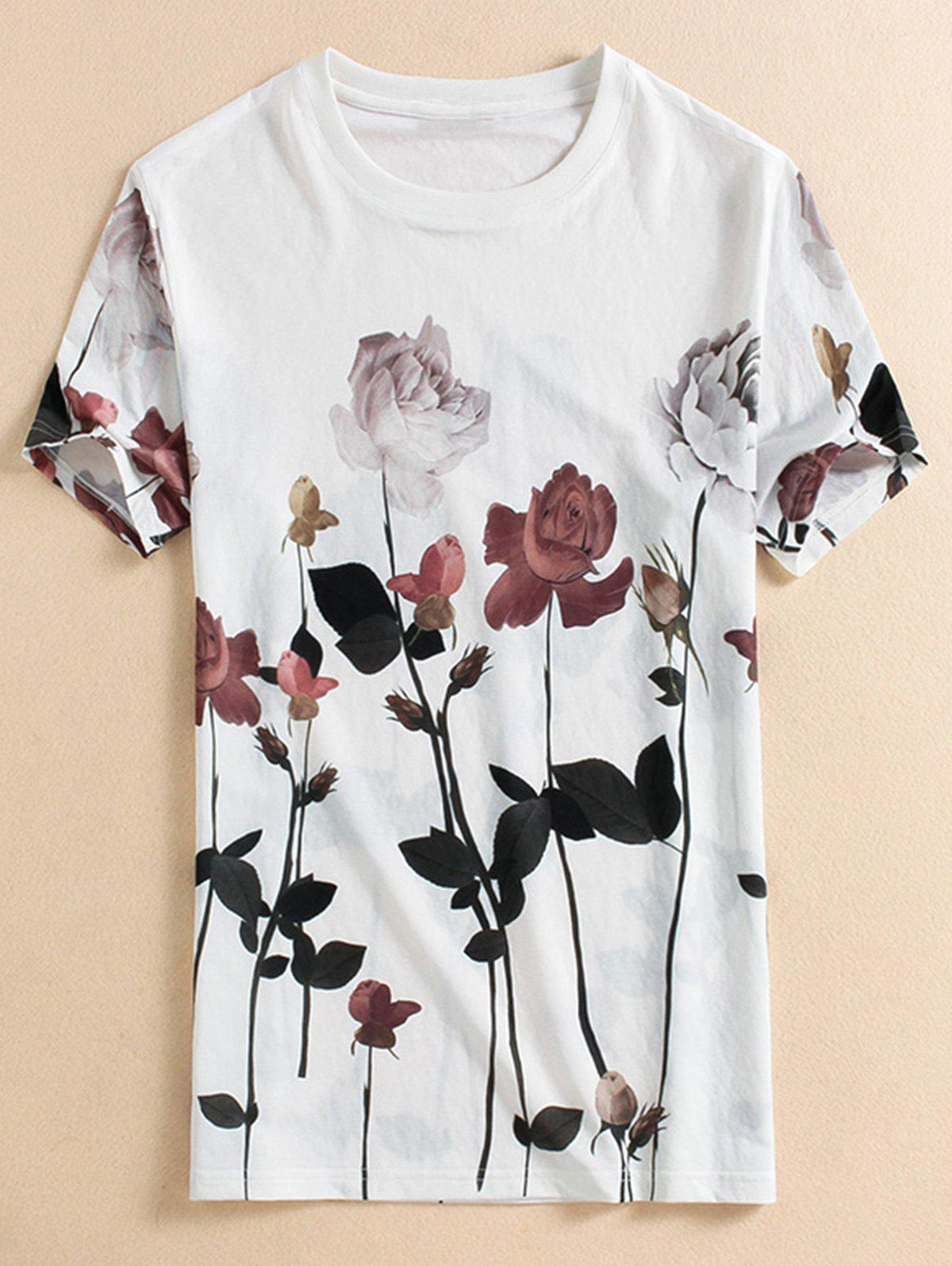 Crew Neck Rose Printed T-shirt - WHITE L