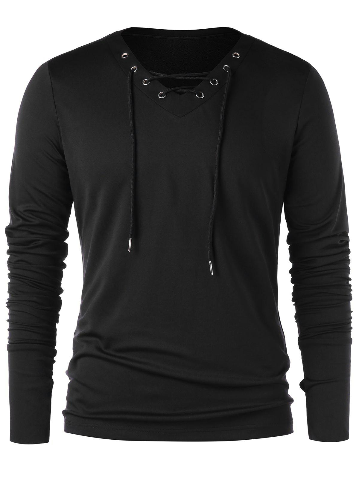 Lace Up Full Sleeve with Finger Hole T-shirt - BLACK M