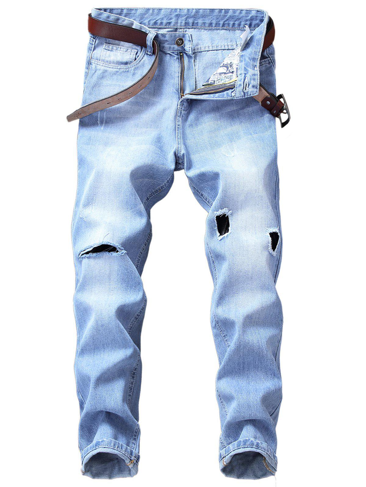 Broken Hole Zip Fly Straight Leg Jeans клей kores 20g 4шт 130249
