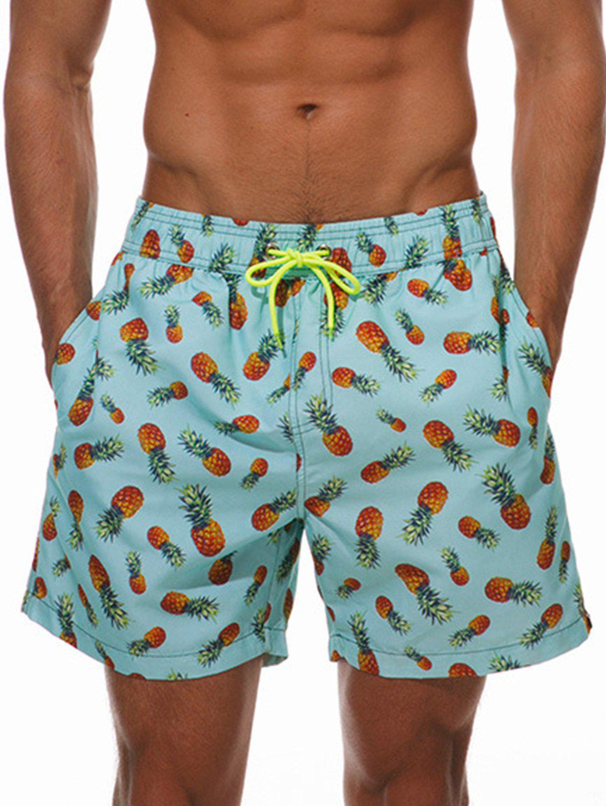 Allover Pineapple Print Drawstring Hawaiian Shorts - multicolor XL