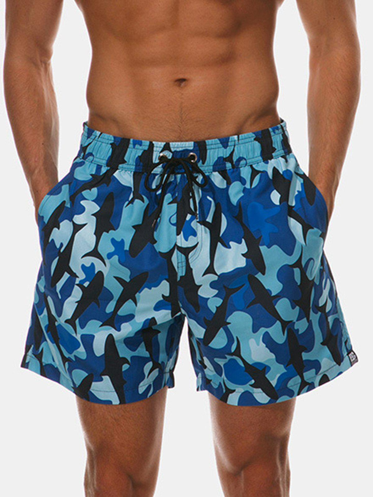 Drawstring Camo Whale Print Beach Shorts - multicolor 2XL