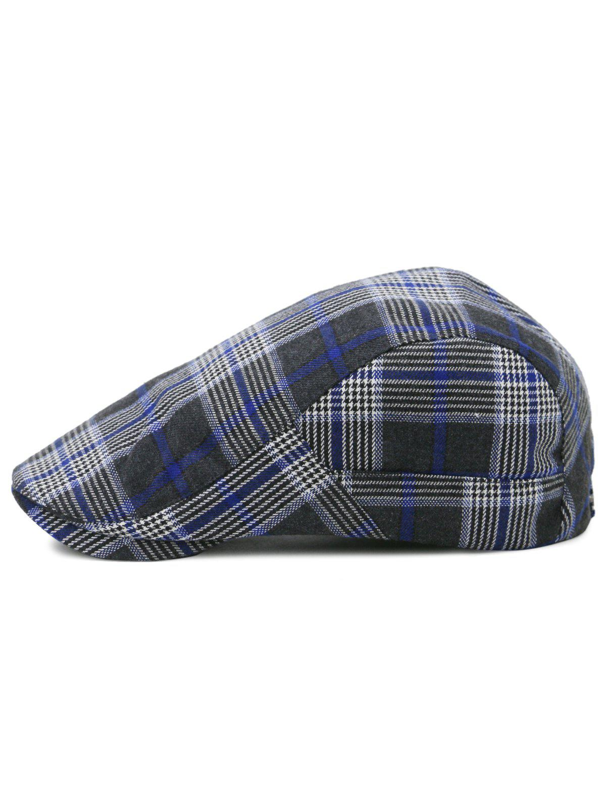 Tartan Pattern Adjustable Cabbie Hat - COBALT BLUE