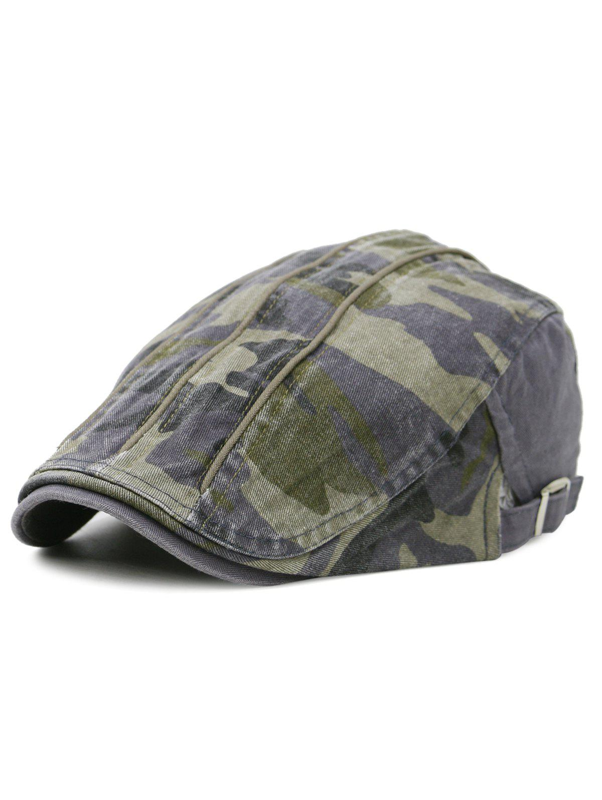 Unique Camouflage Pattern Newsboy Cap - GRAY